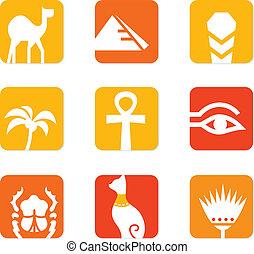 iconos, elementos, bloque, egipto, aislado, diseño, blanco