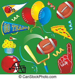 iconos, elementos, fútbol, diversión