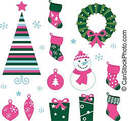 iconos, elementos, (green, aislado, alfiler, navidad, caricatura, y, blanco