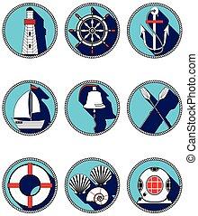 iconos, elementos, náutico, círculo