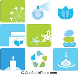 iconos, elementos, natural, cosméticos, -, verde, balneario, azul