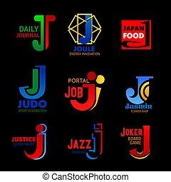 iconos, energía, j, deporte, música, identidad corporativa