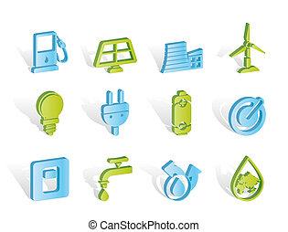 iconos, energía, potencia, ecología