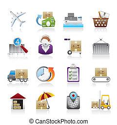 iconos, envío, logístico, carga