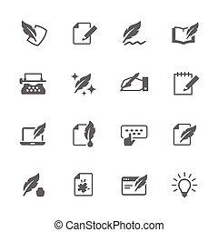 iconos, escritura, simple
