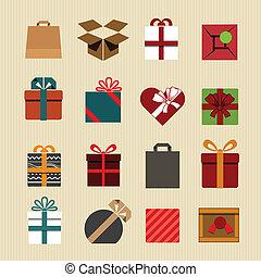 iconos, estilo, cajas, color, retro, regalo, collection.