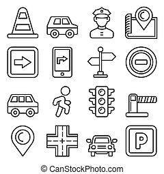 iconos, estilo, coche, conjunto, línea, blanco, fondo., ...