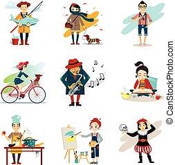 iconos, estilo de vida activo, conjunto, pasatiempos, estilo...