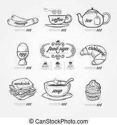 iconos, estilo, garabato, plano de fondo, menú, .vector, vendimia, dibujado, pizarra