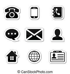 iconos, etiquetas, conjunto, contacto