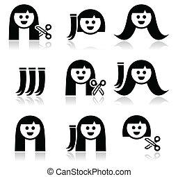 iconos, extensiones, pelo, corte de pelo, conjunto