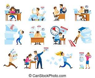 iconos, fecha tope, ilustración, conjunto, vector, trabajo