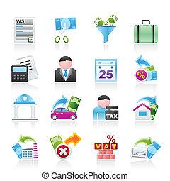 iconos, finanzas, empresa / negocio, impuestos