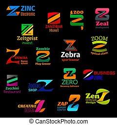 iconos, forma, carta, moderno, z, identidad corporativa