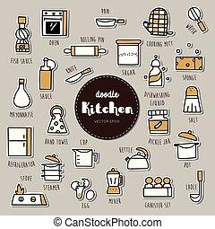 iconos, garabato, set., mano, dibujado, cocina