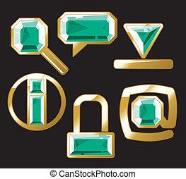 iconos, gema, esmeralda