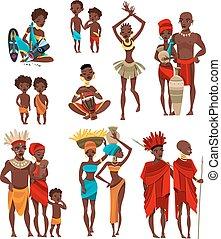 iconos, gente, africano, ropa, colección, plano