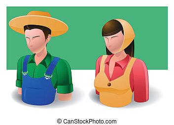 iconos, :, gente, granjero