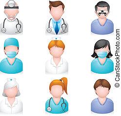 iconos, gente, -, médico