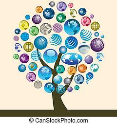 iconos, globo, colorido, árbol