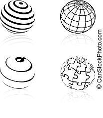 iconos, globo, -, símbolos, vector, mundo