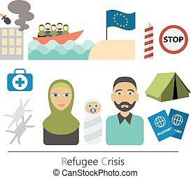 iconos, guerra, carácter, víctimas, concept., elements., conjunto, refugiado, vector, infographic, crisis, caricatura, design., plano