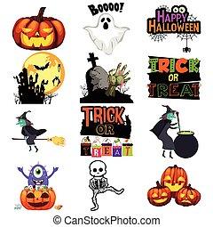 iconos, halloween, ilustración, truco, gusto, o