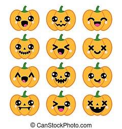 iconos, halloween, lindo, calabaza, kawaii