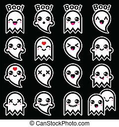 iconos, halloween, lindo, fantasma, kawaii