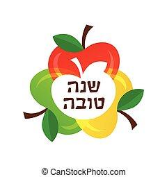 iconos, hebreo, saludo, apples., año, nuevo, colorido, tarjeta, feliz