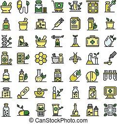 iconos, homeopatía, conjunto, vector, plano