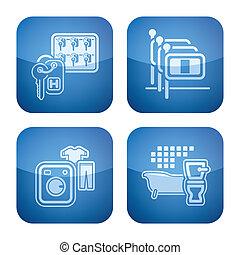 iconos, hotel, ajustado, cobalto, 2d, set: