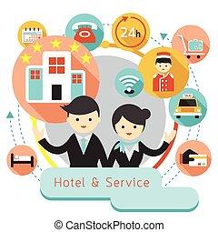 iconos, hotel, título, alojamiento