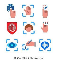 iconos, identificación, biometric