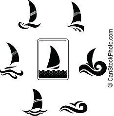 iconos, imagen, yates