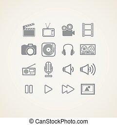 iconos, industria, artículos, creativo, vector