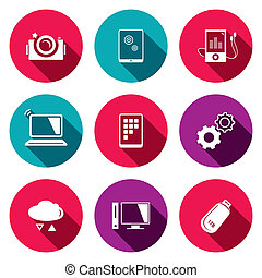iconos, información, intercambio, conjunto, plano, ...