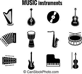 iconos, instrumento, fondo negro, música, blanco