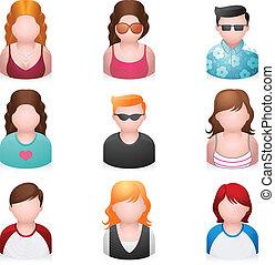 iconos, -, jóvenes, gente, más