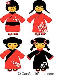 iconos, japonés, tradicional, -1, vestidos, rojo, muñecas