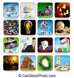 iconos, juegos, colección, programas