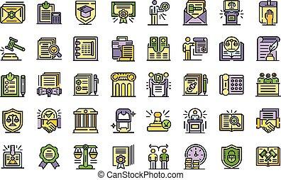 iconos, línea, conjunto, notary, color, vector