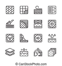 iconos, línea, conjunto, piso