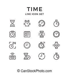 iconos, línea, conjunto, tiempo