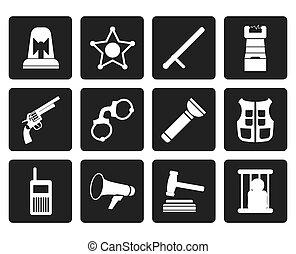 iconos, ley, crimen, orden, policía