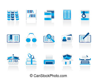 iconos, libros, biblioteca