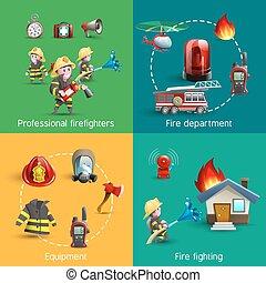 iconos, luchadores, fuego, cuadrado, 4, composición