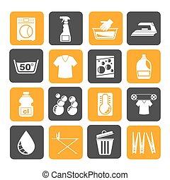 iconos, máquina, lavado