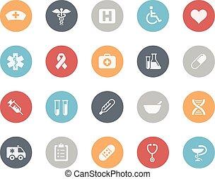 iconos médicos, clásico, serie