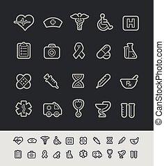 iconos médicos, //, negro, línea, serie